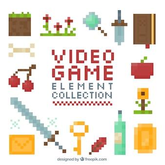 Colección de elementos pixelados de videojuegos