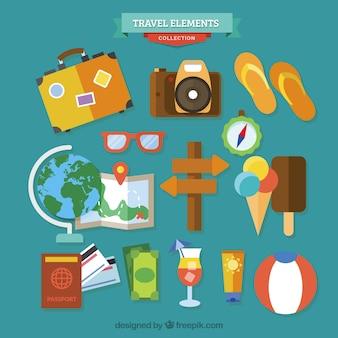 Colección de elementos planos de viaje de verano
