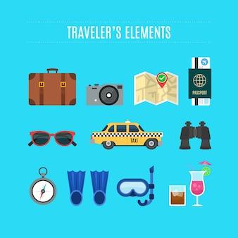 Colección de elementos planos de viaje
