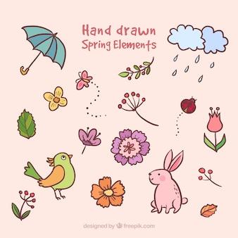 Colección de elementos primaverales dibujados a mano