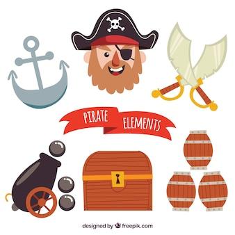 Colección de elementos realistas de piratas