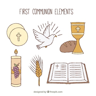 Colección de elementos religiosos dibujados a mano