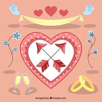 Colección de elementos románticos de boda