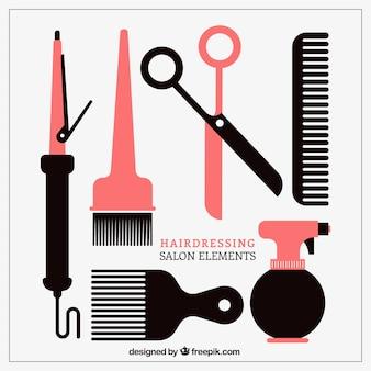 Colección de elementos salón de peluquería