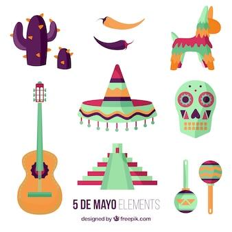 Colección de elementos típicos mexicanos planos