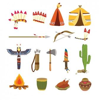 Colección de elementos tradicionales de Acción de Gracias