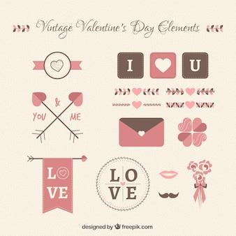 Colección de elementos vintage del día de san valentín