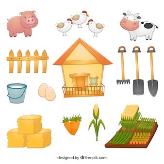 Colección de elementos y animales de granja