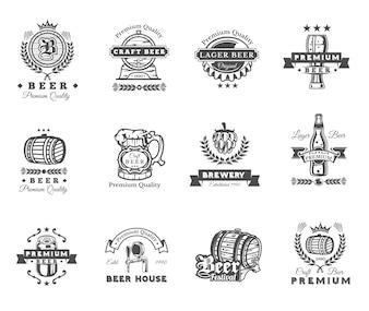 Colección de emblemas de cerveza retro, insignias, pegatinas