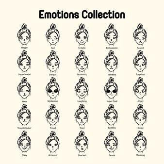 Colección de emociones cara de chica