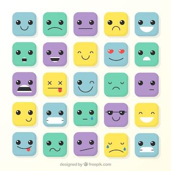Colección de emoticonos cuadrados