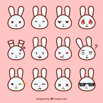Colección de emoticonos de conejitos