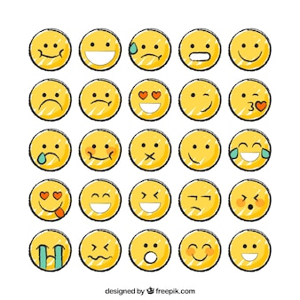 Colección de emoticonos divertidos dibujados a mano