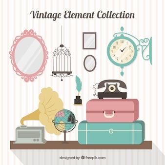 Colección de equipaje y elementos antiguos en diseño plano