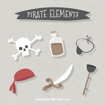 Colección de espada y elementos de pirata