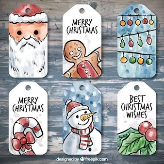 Colección de etiquetas bonitas de acuarela de navidad