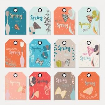 Colección de etiquetas coloridas de primavera