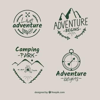 Colección de etiquetas de aventura