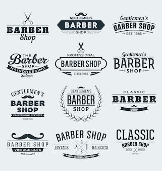 Colección de etiquetas de barbero
