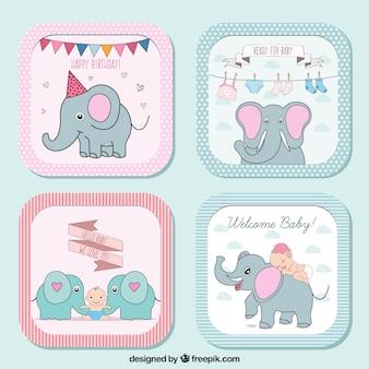 Colección de etiquetas de bienvenida del bebé