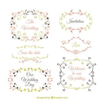 Colección de etiquetas de boda pintadas a mano