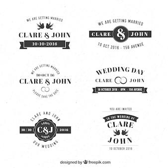 Colección de etiquetas de boda retro