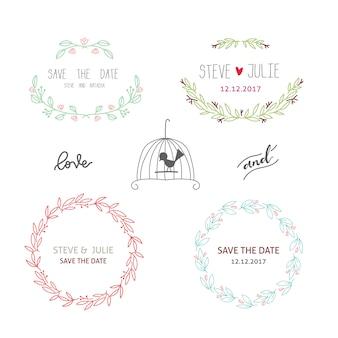 Colección de etiquetas de boda