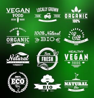 Colección de etiquetas de comida vegana
