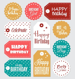 Colección de etiquetas de cumpleaños