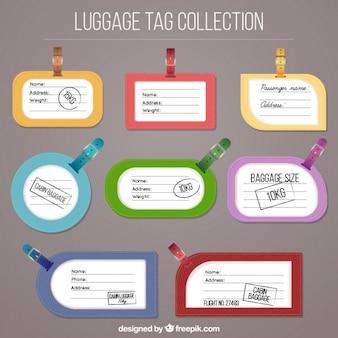Colección de etiquetas de equipaje de colores