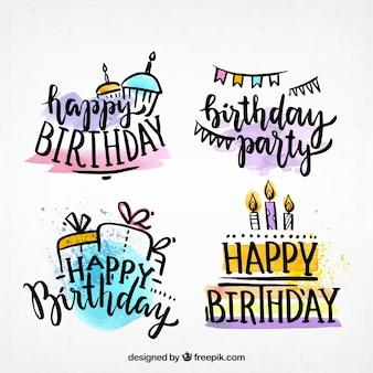 Colección de etiquetas de feliz cumpleaños dibujadas a mano