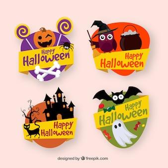 Colección de etiquetas de halloween decorativas