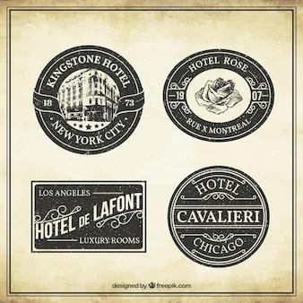 Colección de etiquetas de hoteles vintage