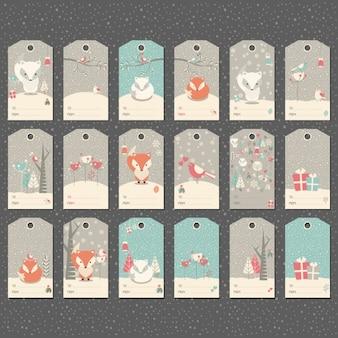 Colección de etiquetas de invierno