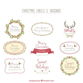 Colección de etiquetas de navidad dibujadas a mano