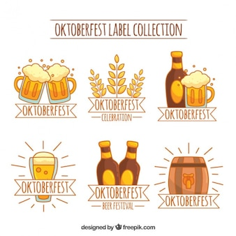 Colección de etiquetas de oktoberfest en tonos amarillos y marrones