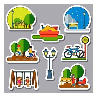 Colección de etiquetas de parque