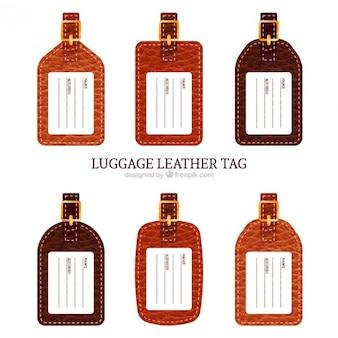 Colección de etiquetas de piel de equipaje