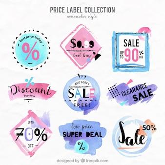 Colección de etiquetas de precio en estilo de acuarela
