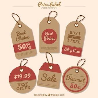 Colección de etiquetas de precios con detalles en rojo