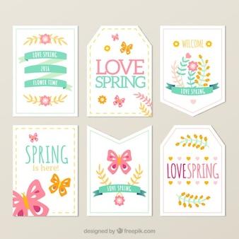 Colección de etiquetas de primavera adorables