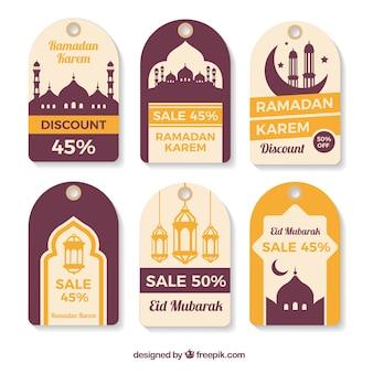 Colección de etiquetas de ramadan