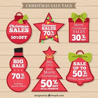 Colección de etiquetas de rebajas de navidad rojas