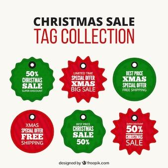 Colección de etiquetas de rebajas de navidad verdes y rojas
