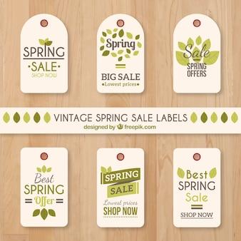 Colección de etiquetas de rebajas de primavera