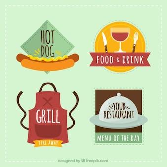 Colección de etiquetas de restaurantes de comida rápida
