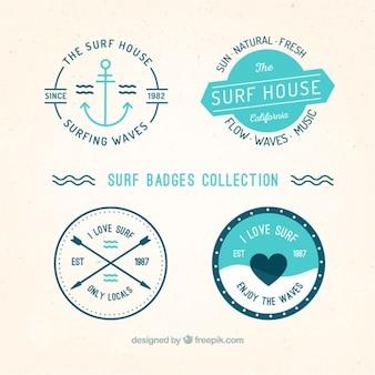 Colección de etiquetas de surf