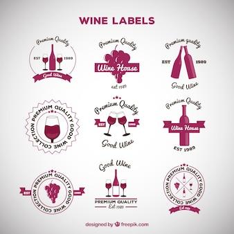 Colección de etiquetas de vino con diseño plano