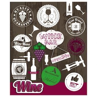 Colección de etiquetas de vino