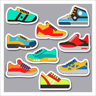 Colección de etiquetas de zapatillas deportivas